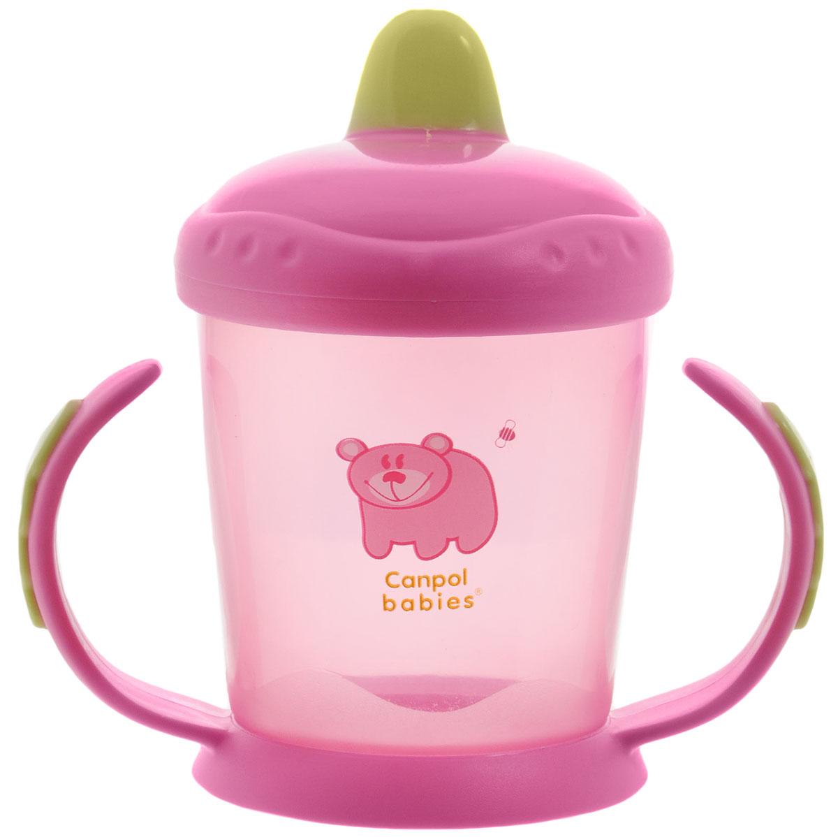 Canpol Babies Поильник-непроливайка от 9 месяцев цвет розовый 220 мл56/505_розовыйПоильник-непроливайка Canpol Babies поможет вашему малышу незаметно перейти от кормления из бутылочки к самостоятельному питью. Изготовлен из ударопрочного и износостойкого материала, оснащен уникальным клапаном, который разработан таким образом, чтобы ребенок мог пить самостоятельно, не проливая при этом содержимое. Фигурные ручки не скользят и позволяют ребенку легко хватать, удерживать его в своих маленьких ручках. Поильник имеет жесткий носик. Оригинальный яркий, контрастный узор привлечет и вызовет интерес у малыша. Не содержит бисфенол-А.
