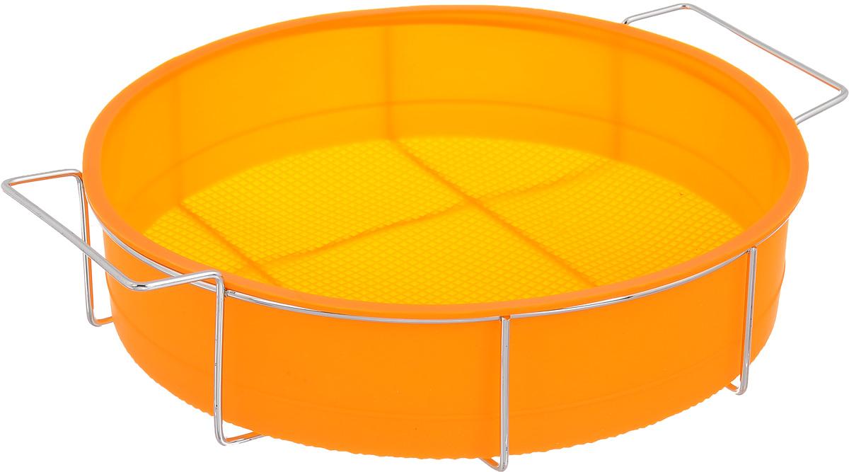 Форма для выпечки Marmiton Круг, силиконовая, на подставке, цвет: оранжевый, диаметр 26 см16047_оранжевыйФорма для выпечки Marmiton Круг, выполненная из силикона, предназначена для приготовления выпечки, пудинга, запеканок и желе. Изделие не взаимодействует с продуктами питания и не впитывает запахи, как при нагревании, так и при заморозке. Готовую выпечку или пудинг извлекать из формы легко и просто. С такой формой вы всегда сможете порадовать своих близких оригинальным изделием. Материал устойчив к фруктовым кислотам, может быть использован в духовках и микроволновых печах (выдерживает температуру от 240°C до - 40°C). Можно мыть и сушить в посудомоечной машине. В комплекте металлическая подставка. Диаметр формы: 26 см. Высота формы: 6 см. Размер подставки: 31 х 25 х 7,5 см.