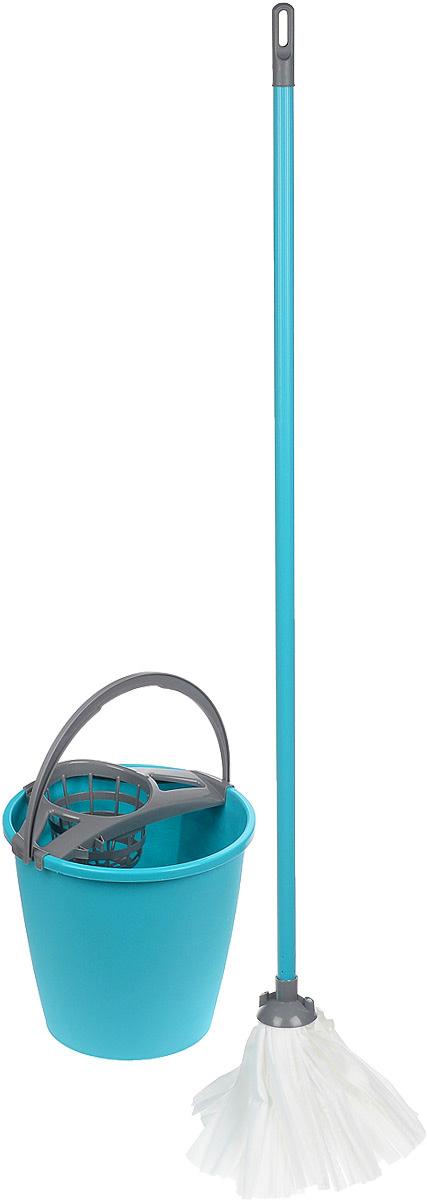 Набор для уборки York Mop Set, цвет: бирюзовый, серый, 3 предмета. 72037203Набор York предназначен для уборки любых типов напольных покрытий, включая паркет и ламинат. Специальная структура микроактивного волокна лепестковой насадки убирает даже сильные, затвердевшие загрязнения, не оставляя разводов и эффективно впитывает влагу. Благодаря ведру со встроенным отжимом, уборка станет быстрой и гигиеничной, так как вы сможете выжимать швабру в предназначенном для этого ведре, не пачкая руки. Такой набор сделает уборку легкой и обеспечит идеальную чистоту вашего пола без разводов и царапин. Диаметр ведра по верхнему краю: 28 см. Высота ведра: 25 см. Объем ведра: 10 л. Длина черенка: 108 см. Диаметр черенка: 2 см. Длина волокон лепестковой насадки: 19 см. Диаметр отверстия для черенка: 2,2 см.