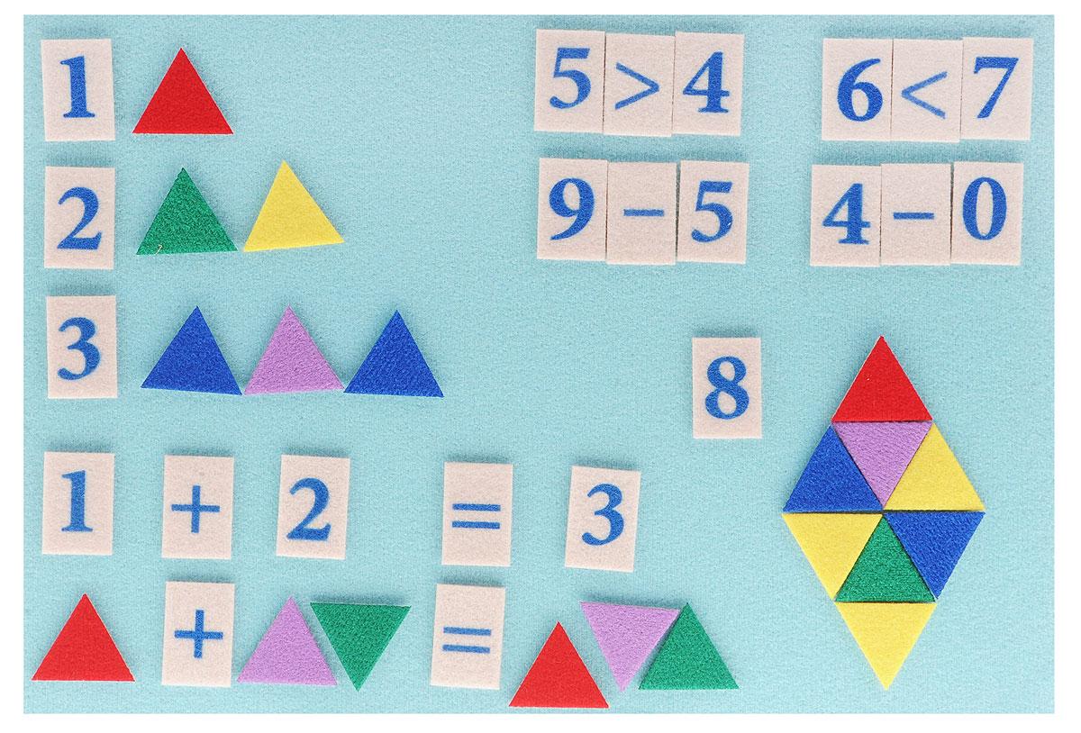 Stigis Игра на липучках Стигисы Мозаика математическая цветнаяММЦСтигисы - это фигурки, которые легко прикрепляются в любом месте игрового поля и друг к другу. В данный набор входят цифры и математические знаки для обучения сложению и вычитанию в пределах 10, а также счетный материал - треугольники для обучения счету в пределах 20. Игровое поле представляет собой пластиковую доску, обтянутую мягкой тканью. Треугольники, цифры и знаки выполнены из плотной ткани. Такая игра обеспечит необходимую подготовку ребенка в школу по математике. Мозаика обучит ребенка счету до 20 и наглядно покажет примеры на сложение и вычитание. С помощью игры малыш сможет решать задачки на составление подобных треугольников и ромбов, которые дают понимание геометрии. Ребенок может играть в увлекательную мозаику из треугольников. Игра отлично подходит для занятий в группе и в дороге.