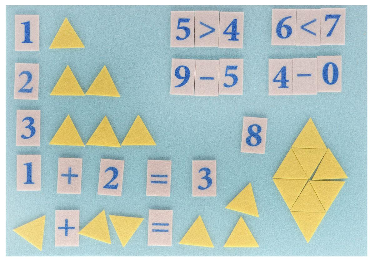 Stigis Игра на липучках Стигисы Мозаика математическая цвет желтыйММО_желтыйСтигисы - это фигурки, которые легко прикрепляются в любом месте игрового поля и друг к другу. В данный набор входят цифры и математические знаки для обучения сложению и вычитанию в пределах 10, а также счетный материал - треугольники для обучения счету в пределах 20. Игровое поле представляет собой пластиковую доску, обтянутую мягкой тканью. Треугольники, цифры и знаки выполнены из плотной ткани. Такая игра обеспечит необходимую подготовку ребенка в школу по математике. Мозаика обучит ребенка счету до 20 и наглядно покажет примеры на сложение и вычитание. С помощью игры малыш сможет решать задачки на составление подобных треугольников и ромбов, которые дают понимание геометрии. Ребенок может играть в увлекательную мозаику из треугольников. Игра отлично подходит для занятий в группе и в дороге.