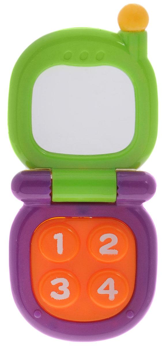 Mioshi Развивающая игрушка Телефон с зеркальцем цвет зеленый фиолетовыйTY9041_зеленый,фиолетовыйИгрушка Mioshi Телефон с зеркальцем не оставит равнодушным вашего малыша! Яркий телефон с зеркальцем отлично подходит для малышей, познающих мир. В безопасном зеркальце можно разглядывать себя самого и отражение предметов. Телефон складывается и раскладывается, а если нажать на панель с цифрами - раздастся звук пищалки. Дети в раннем возрасте всегда очень любознательны, они тщательно исследуют все, что попадает им в руки. Заботясь о здоровье и безопасности малышей, Mioshi выпускает только качественную продукцию, которая прошла сертификацию. Игрушка развивает мелкую моторику и восприятие формы и цвета.