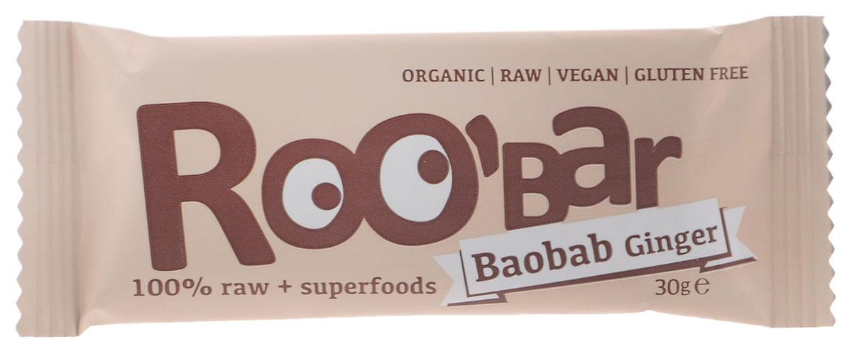 ROOBAR Baobab & Ginger Organic батончик, 30 г170Энергетический батончик ROOBAR Baobab & Ginger Organic со вкусом фиников, плодов баобаба, орехов кешью и имбиря. Здоровая пища может быть вкусной. Этот продукт содержит только натуральные фруктовые сахара.