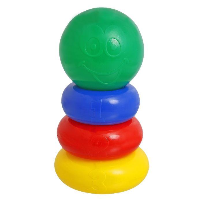 Крошка Я Пирамидка 3 кольца, с шаром1182509Пирамидка 3 кольца, с шаром — одна из первых развивающих игрушек малыша, которая состоит из основы-стержня, круглых колец и наконечника в виде шара со смайликом. Неоспоримая польза Каждое кольцо разного цвета и пронумеровано. Собирая пирамидку, ребёнок освоит основные цвета радуги и получит базовые навыки счёта. Игры с красочной пирамидкой разовьют у крохи мелкую моторику, координацию движений, воображение, логическое и образное мышление, навыки конструирования. Он научится различать предметы по величине, сравнивать их и делать выводы. Также юный конструктор познакомится с такими понятиями, как «больше», «меньше», «круг», «конус», «плоский», «объёмный». Полная безопасность Товар разработан и произведён в России из российских материалов и соответствует всем ГОСТам