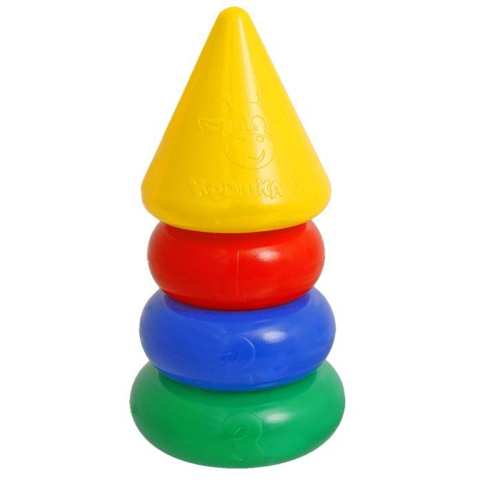 Крошка Я Пирамидка 3 кольца, с конусом1182510Пирамидка 3 кольца, с конусом — одна из первых развивающих игрушек малыша, которая состоит из основы-стержня, круглых колец и наконечника в виде конуса с весёлой мордочкой жирафа. Неоспоримая польза Каждое кольцо разного цвета и пронумеровано. Собирая пирамидку, ребёнок освоит основные цвета радуги и получит базовые навыки счёта. Игры с красочной пирамидкой разовьют у крохи мелкую моторику, координацию движений, воображение, логическое и образное мышление, навыки конструирования. Он научится различать предметы по величине, сравнивать их и делать выводы. Также юный конструктор познакомится с такими понятиями, как «больше», «меньше», «круг», «конус», «плоский», «объёмный». Полная безопасность Товар разработан и произведён в России из российских материалов и соответствует всем ГОСТам