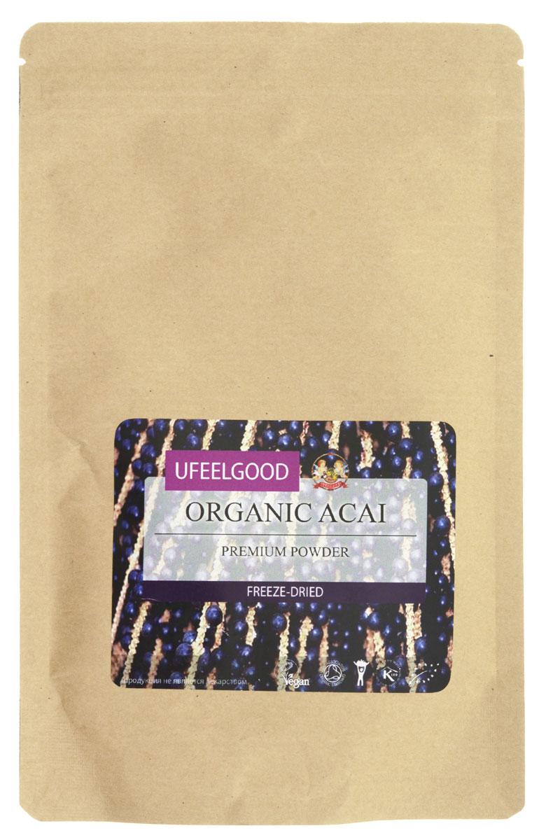 UFEELGOOD Organic Acai Premium Powder органические молотые ягоды асаи, 100 г47Плоды асаи обладают мощными антиоксидантными свойствами. Они восстанавливают клетки организма, предотвращая окислительные реакции внутри, замедляют процессы старения. Антоцианы, которые содержаться в ягодах, способны замедлить или предотвратить развитие рака. Содержание полифенола помогает избежать болезни сердца. Ягоды асаи очень питательны, они содержат: кальций железо, клетчатку, белок, жирные кислоты. Кроме этого, они способны на невероятную емкость поглощения радикалов кислорода – 50 000 единиц на 100 граммов (для сравнения, красный виноград — 740). Ягоды асаи для похудения используют следующим образом — из них делают питательный сок, который заменяет собой еду. Экстракт асаи используется для того, чтобы придать неповторимый вкус блюдам.
