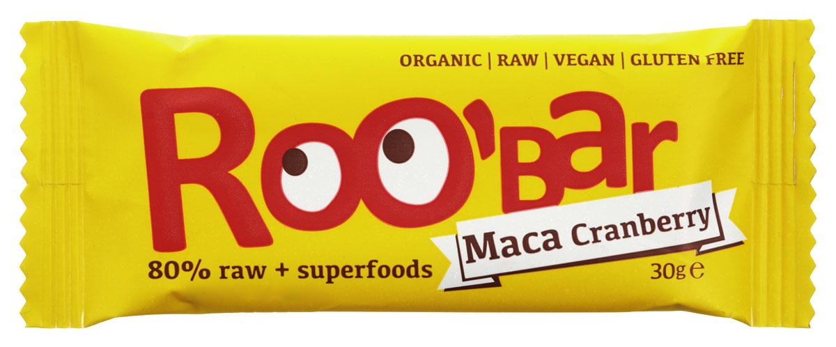 ROOBAR Maca & Cranberries Organic батончик, 30 г169ROOBAR Maca & Cranberries Organic - это энергетический батончик, в котором сочетаются сладкие финики с кислым вкусом клюквы, а завершает этот чудесный вкус щепотка Маки Перуанской. Здоровая пища может быть вкусной!