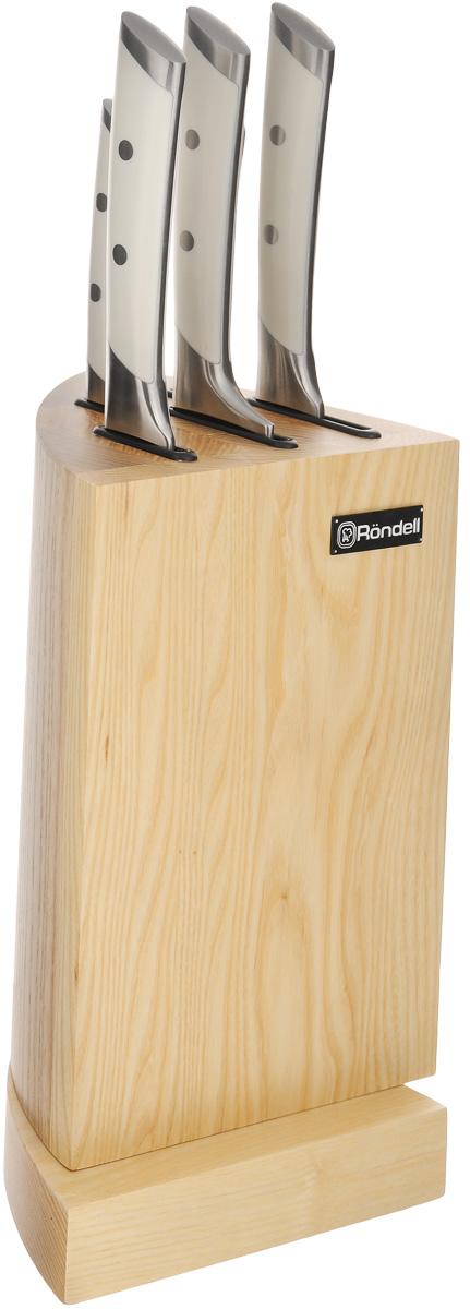 Набор ножей Rondell Adelard, 6 предметовRDF-477Набор Rondell Adelard состоит из 5 кухонных ножей и подставки. Лезвия ножей изготовлены из высококачественной нержавеющей стали. Рукоятки эргономичной формы выполнены из пластика. Лезвия ножей долгое время остаются острыми. Для хранения приборов предусмотрена подставка из дерева. Такой набор ножей стильно дополнит интерьер кухни и поможет в приготовлении ваших любимых блюд. Длина лезвия ножа для чистки: 9 см. Общая длина ножа для чистки: 20 см. Длина лезвия универсального ножа: 12,7 см. Общая длина универсального ножа: 23,5 см. Длина лезвия поварского ножа: 20 см. Общая длина поварского ножа: 33,5 см. Длина лезвия ножа сантоку: 17,8 см. Общая длина ножа сантоку: 31,5 см. Длина лезвия разделочного ножа: 20 см. Общая длина разделочного ножа: 34 см. Размер подставки: 25,5 х 15 х 17,5 см.