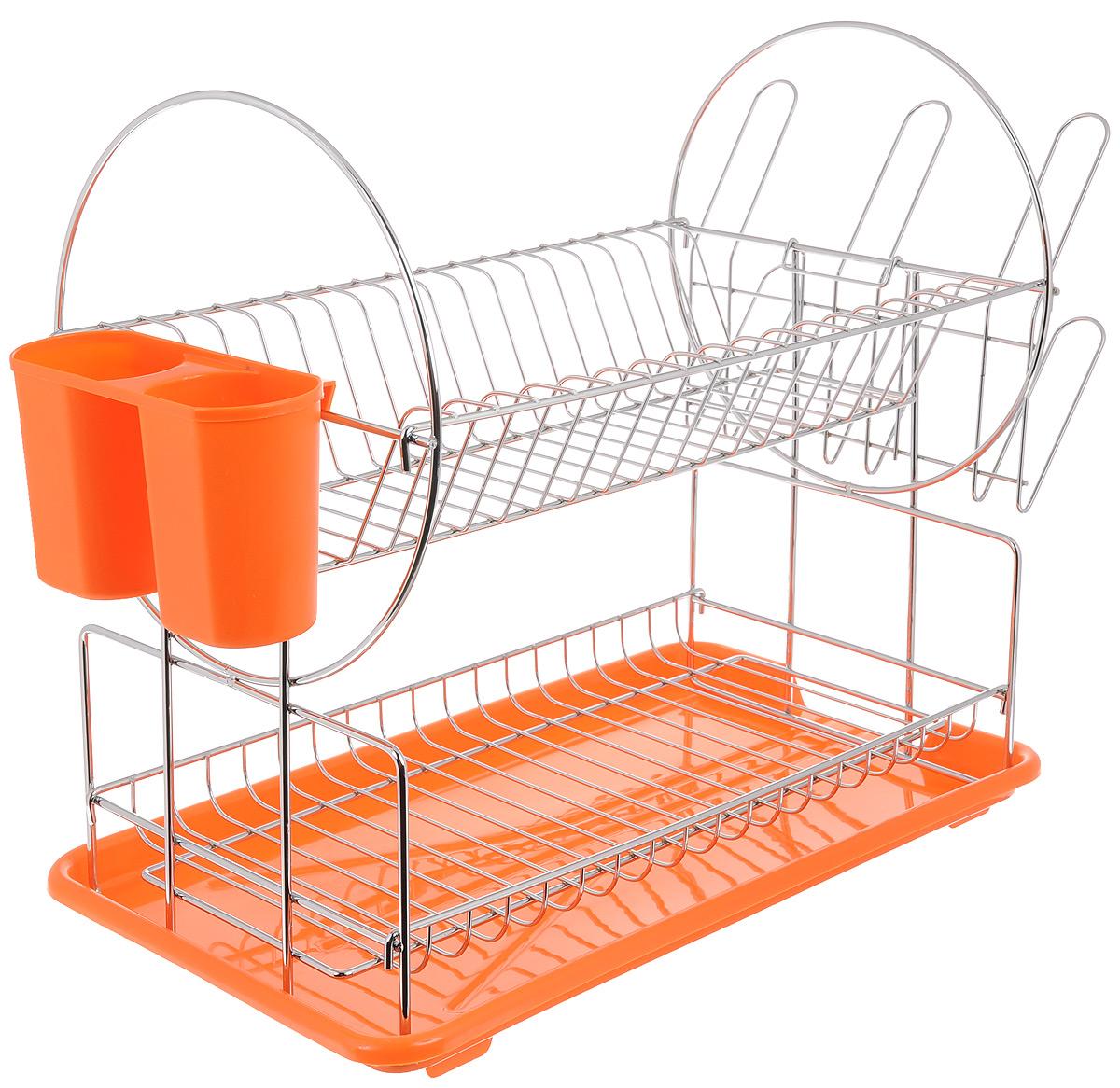Сушилка для посуды Mayer & Boch, 2-ярусная, цвет: оранжевый, 39 х 23 х 36 см23219Двухъярусная сушилка для посуды Mayer & Boch, выполненная из высококачественного полипропилена и хромированного металла, отлично подходит для хранения кухонных принадлежностей и столовых приборов. Сушилка состоит из подставки для тарелок, двойной подставки для столовых приборов, а также места для кружек и мисок. Поддон для воды поможет сохранить кухню в чистоте. Элегантный, цветной дизайн прекрасно сочетается с интерьером любой кухни.