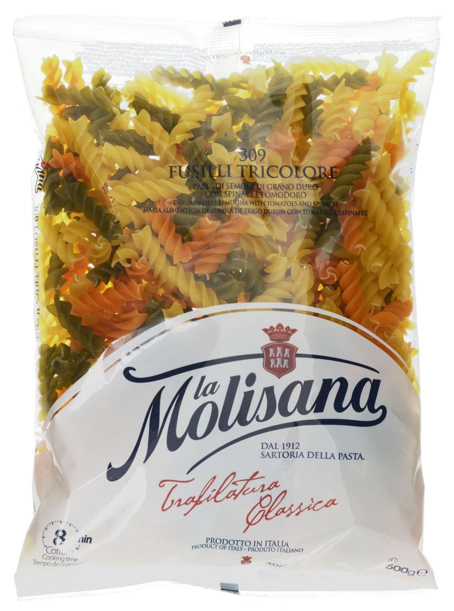 La Molisana Fusilli Tricolore макаронные изделия с добавлением томатов и шпината, 500 г