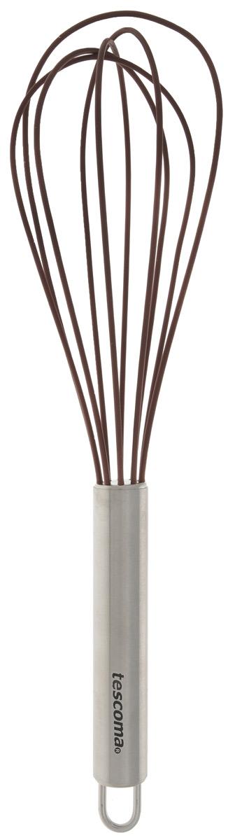 Венчик силиконовый Tescoma Delicia, цвет: коричневый, длина 25 см630262_коричневыйВенчик Tescoma Delica изготовлен из первоклассной нержавеющей стали и жароупорного силикона. Предназначен для взбивания и обработки холодных и горячих блюд в посуде с антипригарным покрытием, в посуде из полированной нержавеющей стали, фарфора, керамики - не повреждает поверхность. Удобная ручка не позволит выскользнуть венчику из вашей руки, сделает приятным процесс приготовления любого блюда. На ручке имеется петелька, за которую изделие можно подвесить в любом удобном для вас месте. Практичный и удобный венчик Tescoma Delica займет достойное место среди аксессуаров на вашей кухне. Можно мыть в посудомоечной машине. Длина венчика: 25 см. Размер рабочей поверхности: 6,5 см х 15 см.