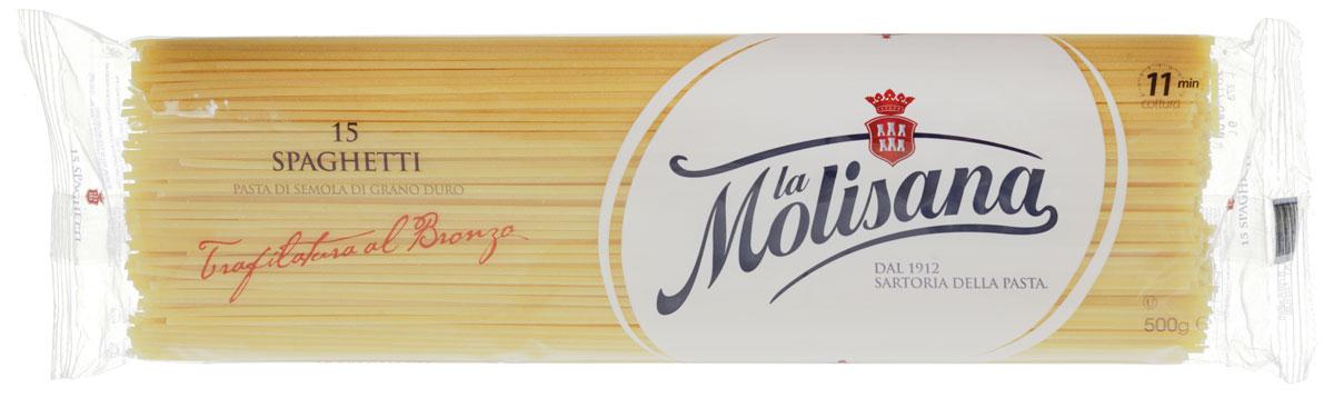La Molisana Spaghetti спагетти, 500 г0190002Спагетти La Molisana Spaghetti сделаны из муки твердых сортов, содержащей чуть меньшее количество клейковины, чем обыкновенная мука. Она хорошо поглощает воду, макароны из нее при варке увеличиваются и не развариваются.