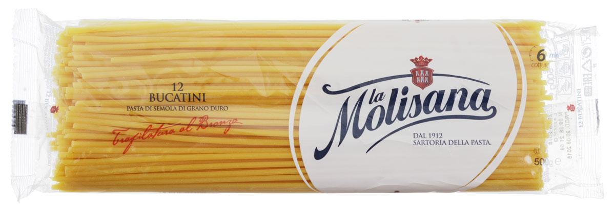 La Molisana Bucatini спагетти с дырочкой, 500 г0190004Спагетти с дырочкой La Molisana Bucatini сделаны из муки твердых сортов, содержащей чуть меньшее количество клейковины, чем обыкновенная мука. Она хорошо поглощает воду, макароны из нее при варке увеличиваются и не развариваются.