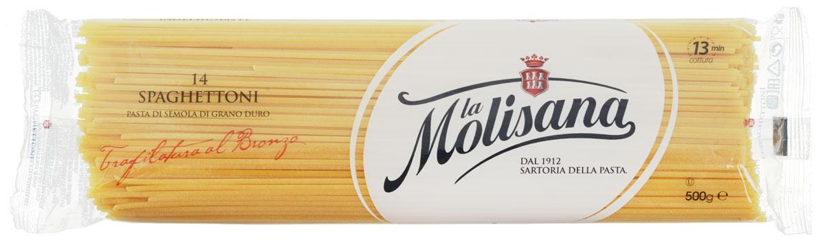 La Molisana Spaghettoni спагетти, 500 г0190003Спагетти La Molisana Spaghettoni сделаны из муки твердых сортов, содержащей чуть меньшее количество клейковины, чем обыкновенная мука. Она хорошо поглощает воду, макароны из нее при варке увеличиваются и не развариваются.