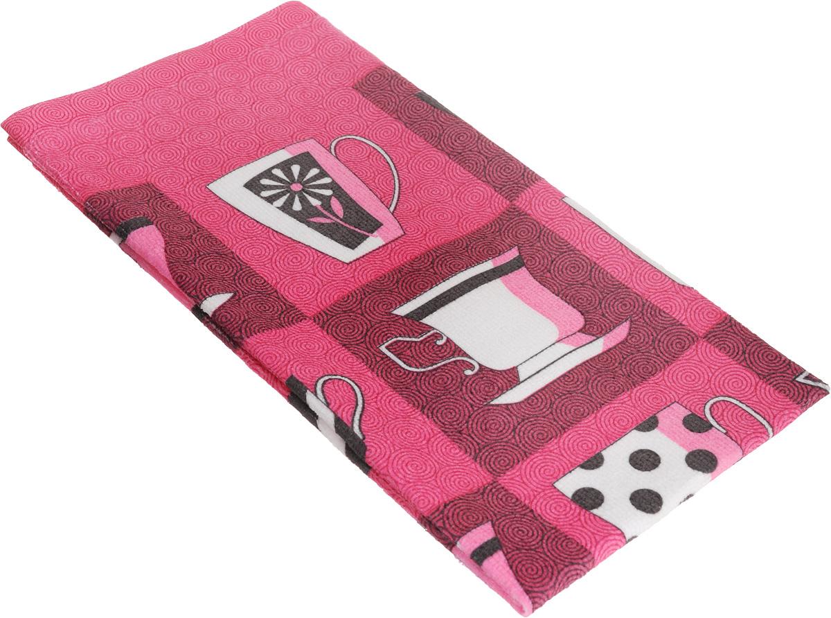 Полотенце кухонное Home Queen Чашки, 38 х 63 см60321_розовый/чашкиКухонное полотенце Home Queen Чашки, выполненное из микрофибры (100% полиэстера), оформлено ярким рисунком. Изделие предназначено для использования на кухне и в столовой. Такое полотенце станет отличным вариантом для практичной и современной хозяйки.