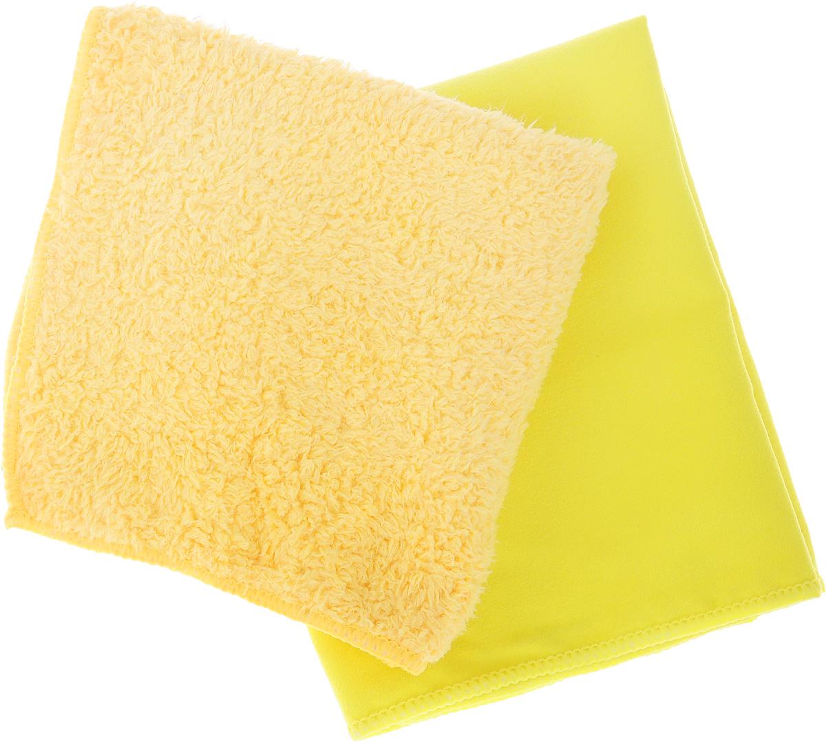 Набор салфеток для мытья и полировки автомобиля Sapfire Cleaning Сloth & Suede, цвет: желтый, оранжево-желтый, 35 х 40 см, 2 штSFM-3069_желтый, оранжево-желтыйНабор многофункциональных салфеток Sapfire Cleaning Cloth & Suede выполнен из микрофибры и искусственной замши. Каждая нить после специальной химической обработки расщепляется на 12-16 клиновидных микроволокон. Микрофибровое полотно удаляет грязь с поверхности намного эффективнее, быстрее и значительно более бережно в сравнении с обычной тканью, что существенно снижает время на проведение уборки, поскольку отсутствует необходимость протирать одно и то же место дважды. Набор обладает уникальной способностью быстро впитывать большой объем жидкости. Клиновидные микроскопические волокна захватывают и легко удерживают частички пыли, жировой и никотиновый налет, микроорганизмы, в том числе болезнетворные и вызывающие аллергию. Нежная текстура искусственной замши идеально подходит для сухой протирки деликатных поверхностей. Салфетка великолепно удаляет пыль и грязь. Протертая поверхность становится идеально чистой, сухой, блестящей, без...