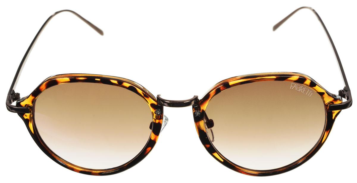 Очки солнцезащитные женские Fabretti, цвет: коричневый, рыжий. A1616-3A1616-3Солнцезащитные женские очки Fabretti выполнены с фотохромными линзами оригинальной формы из высококачественного пластика. Используемые линзы корригируют зрение (улучшают зрение до максимально достижимой с очками остроты зрения), но и изменяют степень своего затемнения в зависимости от интенсивности солнечного света. Линзы имеют степень затемнения Cat. 3. Металлическая оправа декорирована леопардовым принтом. Оправа легкая, прилегающей формы и поэтому не создает никакого дискомфорта. Такие очки защитят глаза от ультрафиолетовых лучей, подчеркнут вашу индивидуальность и сделают ваш образ завершенным.