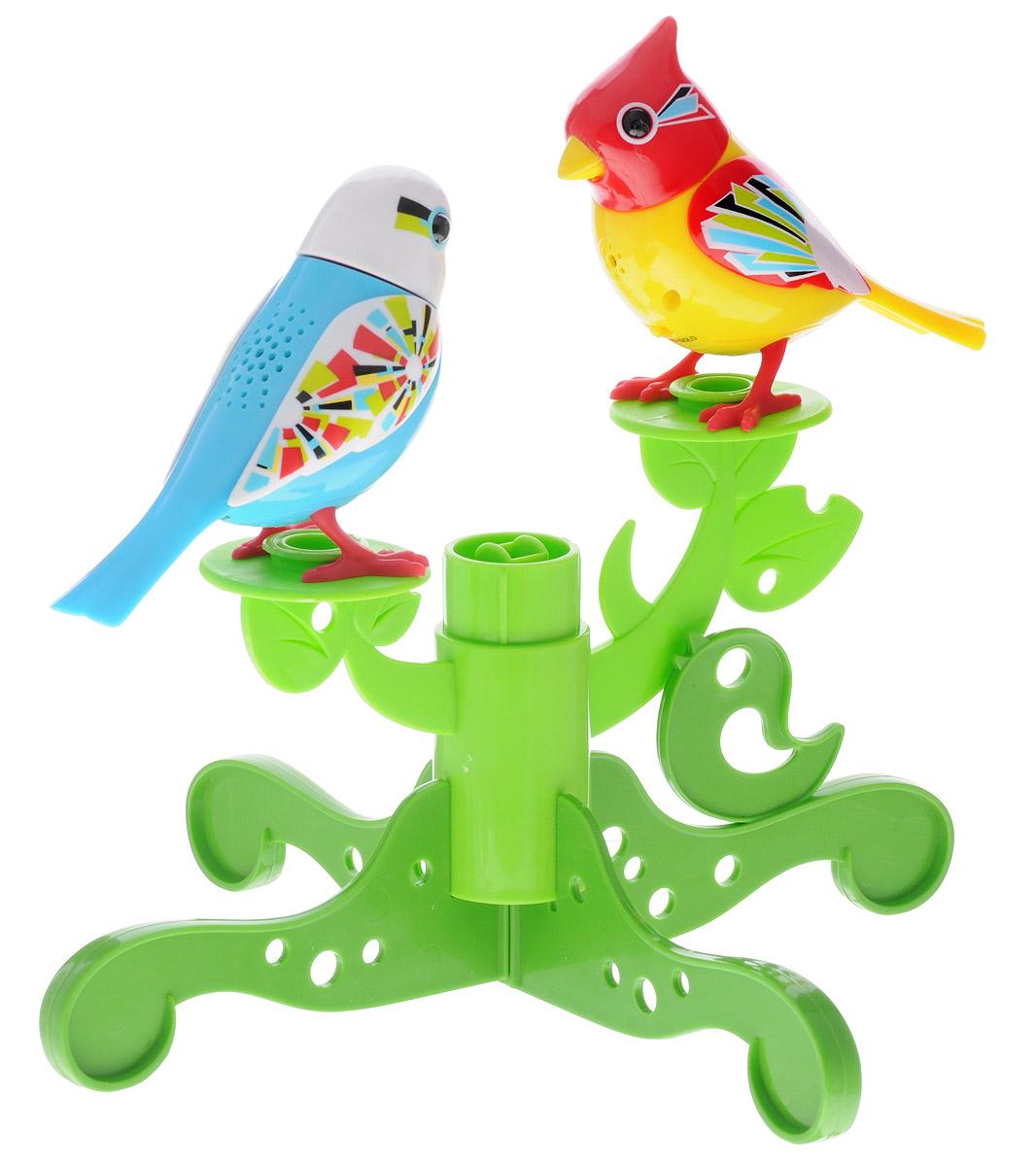 DigiFriends Интерактивная игрушка Две птички с деревом цвет голубой желтый88237SДве поющие птички на подставке-дереве подарят ребенку множество незабываемых игр. Птички умеют петь как соло, так и в хоре - вместе с другими птичками и игрушками Digifriends. Дерево состоит из отдельных элементов-веток, которые ребенок может перестраивать по своему вкусу. Чтобы активировать у птичек режим проигрывания мелодий и птичьего щебета, достаточно посвистеть в свисток, имеющийся в комплекте. Кольцо-свисток может быть использовано в качестве насеста-переноски. Каждая игрушка издает 55 вариантов мелодий и звуков. Головы птичек двигаются в такт мелодиям, а клювики - открываются. Игрушки могут спеть вместе со всеми персонажами Digifriends в режиме хор. Птичка, которую активировали первой, становится солистом. Управлять пением пернатой звезды или целым хором - исключительно увлекательное занятие, которое надолго привлечёт внимание любого ребёнка. Птичка может стать персонажами сюжетно-ролевой игры, которая способствует не только умственному развитию ребенка,...