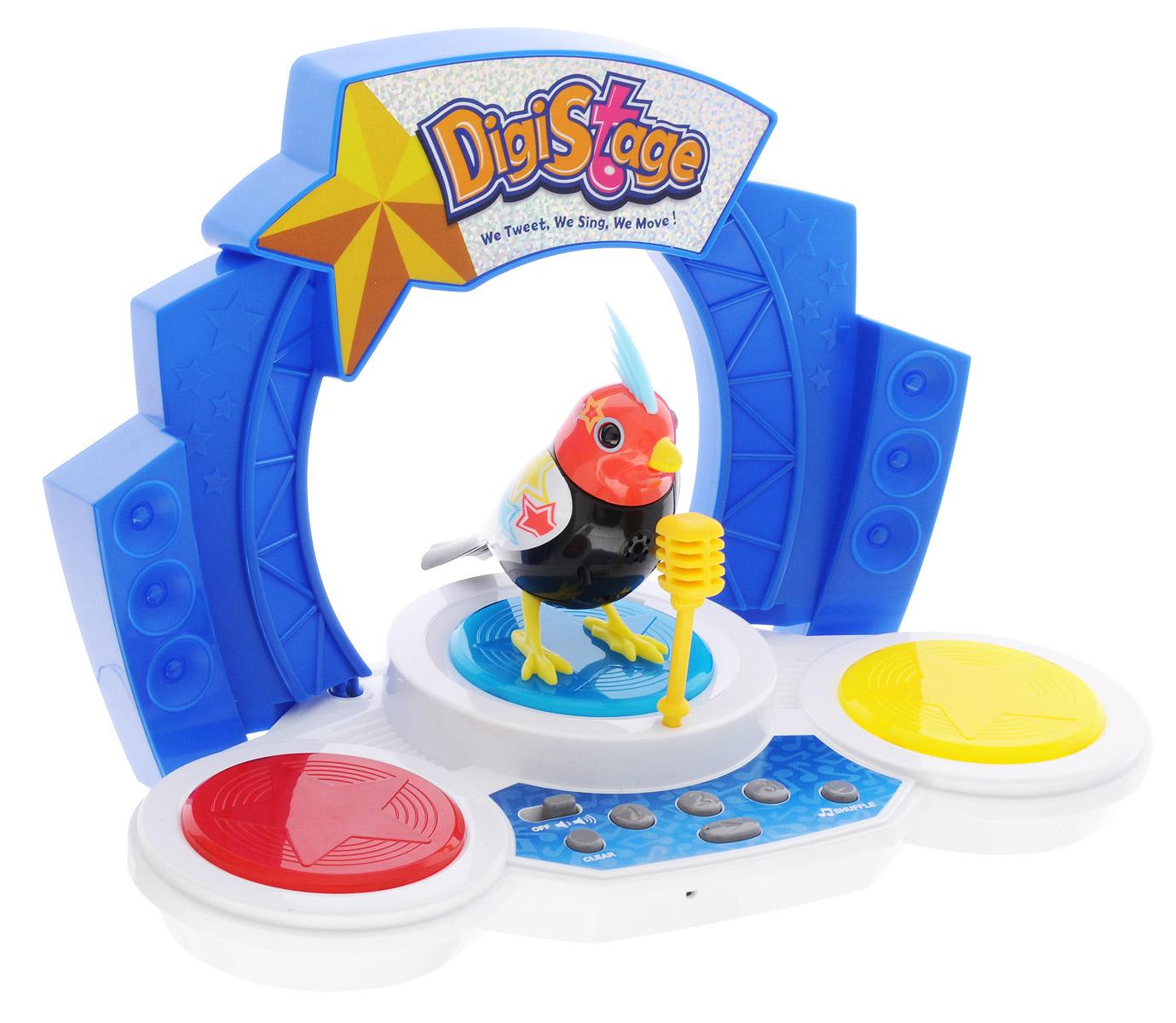DigiFriends Интерактивная игрушка Птичка со сценой88268SПтичка с ярким оперением и голубым хохолком на голове - настоящая звезда. Для исполнения своих песен у неё есть даже настоящая сцена, сияющая разноцветными огоньками. Птица умеет петь как соло, так и в хоре - вместе с другими птичками и сценой. На сцене есть специальные кнопки, с помощью которых нужно набирать четырёхзначные коды для активации той или иной популярной песни. Для последовательного проигрывания мелодий необходимо ввести сразу несколько кодов, записанных в специальной карточке. Голова птички двигается в такт мелодии, а клюв - открывается. Для синхронизации с мелодиями сцены необходимо включить птичку в режим хора. Игрушка также может спеть вместе со всеми персонажами Digifriends. Птичка, которую активировали первой, становится солистом. В комплект входит кольцо-свисток, которое может быть использовано в качестве насеста-переноски. Чтобы активировать режим проигрывания мелодий и птичьего щебета, достаточно посвистеть в свисток. Игрушка издает 55 вариантов...