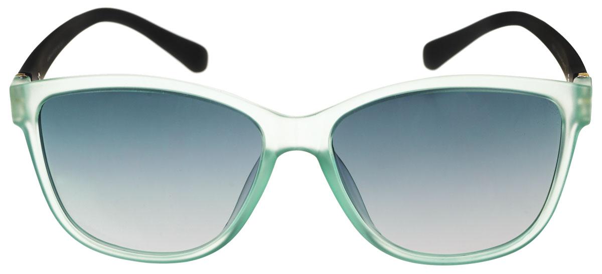 Очки солнцезащитные женские Fabretti, цвет: черный, мятный. A1603-4A1603-4Солнцезащитные женские очки Fabretti выполнены с линзами из высококачественного пластика. Используемый пластик не искажает изображение, не подвержен нагреванию и вредному воздействию солнечных лучей, защищает от бликов, повышает контрастность и четкость изображения, снижает усталость глаз и обеспечивает отличную видимость. Линзы имеют степень затемнения Cat. 3. Пластиковая оправа очков, выполненная в оригинальной черно-зеленой гамме. Оправа легкая, прилегающей формы и поэтому не создает никакого дискомфорта. Такие очки защитят глаза от ультрафиолетовых лучей, подчеркнут вашу индивидуальность и сделают ваш образ завершенным.