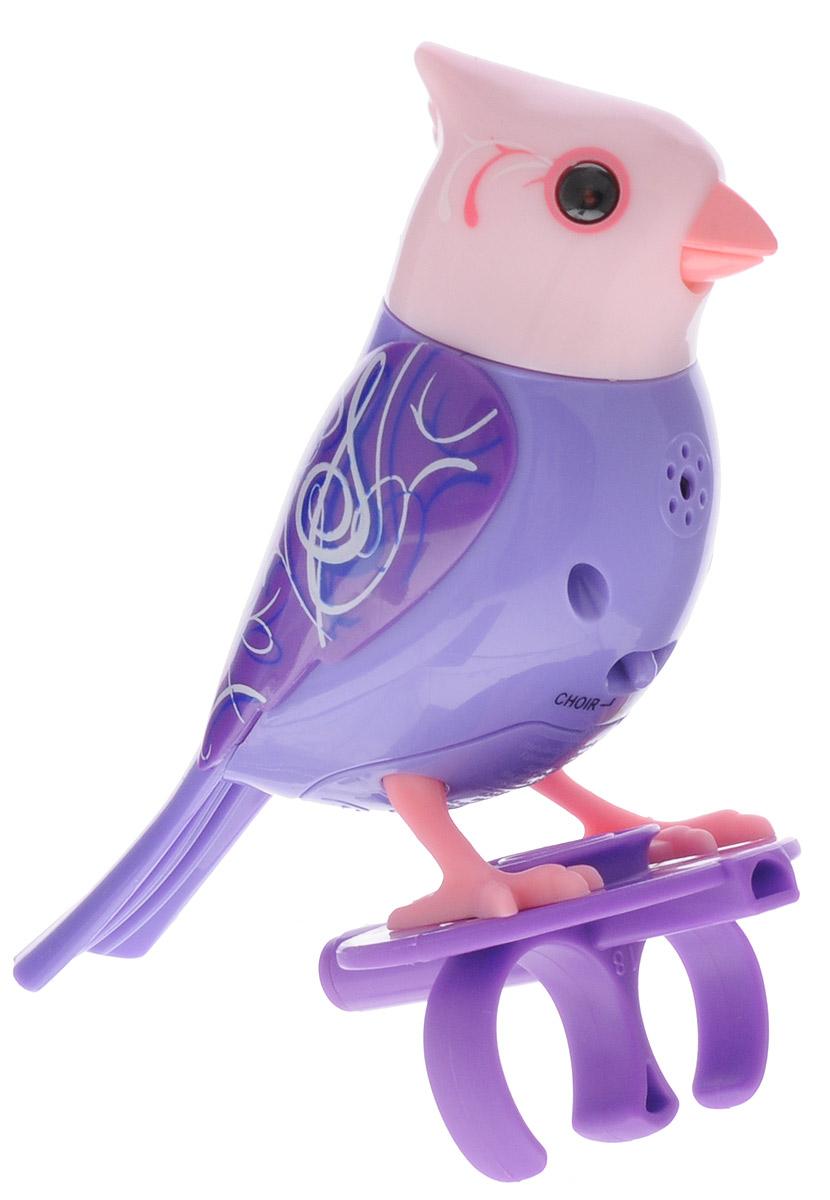 DigiFriends Интерактивная игрушка Птичка с кольцом цвет фиолетовый88286У вас есть шанс получить уникального домашнего питомца - поющую птичку. Не каждый может похвастаться этим. Эта умная птичка интерактивная, она будет развлекать вас различными мелодиями, пением и ритмичными движениями. Для активизации птички необходимо подуть на нее. Чтобы активировать режим проигрывания мелодий достаточно посвистеть в свисток, который имеется в комплекте. Игрушка издает 55 вариантов мелодий и звуков. Кольцо-свисток может служить как переносной насест для птички. Ребенок может надеть кольцо на два пальца, закрепить там игрушку и свободно играть или даже бегать. Птичка DigiBirds устойчива на любой ровной поверхности. Игрушка может поворачивать голову и шевелить клювом в такт мелодии. Игрушка работает в двух режимах: соло и хор. Можно синхронизировать неограниченное количество птичек или других персонажей DigiFriends. Главным в хоре становится персонаж, которого первого включили. Необходимо размещать DigiFriends на расстоянии не более 15 см от главной...