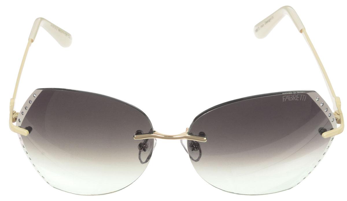 Очки солнцезащитные женские Fabretti, цвет: темно-коричневый, бежевый, молочный. A1615-2A1615-2Солнцезащитные женские очки Fabretti выполнены с фотохромными линзами оригинальной формы из высококачественного пластика. Поверхность по краям декорирована стразами. Используемые линзы корригируют зрение (улучшают зрение до максимально достижимой с очками остроты зрения) и изменяют степень своего затемнения в зависимости от интенсивности солнечного света. Линзы имеют степень затемнения Cat. 2. Металлическая оправа с пластиковыми дужками декорирована оригинальным цветком. Оправа легкая, прилегающей формы и поэтому не создает никакого дискомфорта. Такие очки защитят глаза от ультрафиолетовых лучей, подчеркнут вашу индивидуальность и сделают ваш образ завершенным.