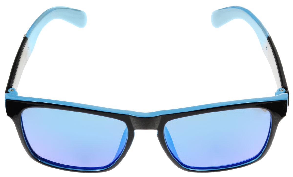 Очки солнцезащитные женские Fabretti, цвет: голубой, черный. A1607-3A1607-3Солнцезащитные женские очки Fabretti выполнены с линзами из высококачественного пластика с зеркальной поверхностью. Используемый пластик не искажает изображение, не подвержен нагреванию и вредному воздействию солнечных лучей, защищает от бликов, повышает контрастность и четкость изображения, снижает усталость глаз и обеспечивает отличную видимость. Линзы имеют степень затемнения Cat. 3. Пластиковая оправа очков, выполненная в оригинальной черно-голубой гамме, дужки декорированы стразами. Оправа легкая, прилегающей формы и поэтому не создает никакого дискомфорта. Такие очки защитят глаза от ультрафиолетовых лучей, подчеркнут вашу индивидуальность и сделают ваш образ завершенным.