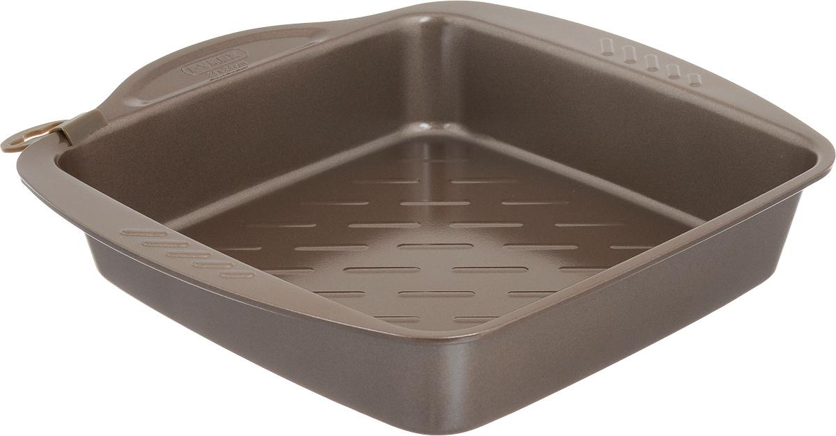 Форма для запекания Pyrex Metal Asimetria, квадратная, с антипригарным покрытием, 24 х 24 смAS24SR0Форма для запекания Pyrex Metal Asimetria изготовлена из углеродистой стали с антипригарным покрытием на всей поверхности. Изделие не содержит примесей PFOA, а также кадмия и свинца, поэтому абсолютно безопасно для использования. Форма снабжена тремя удобными ручками. Пища в такой форме не пригорает и не прилипает к стенкам, готовое блюдо легко вынимается. Изделие прекрасно подойдет для выпечки и запекания. Такая форма станет полезным приобретением для вашей кухни. Можно мыть в посудомоечной машине и использовать в духовке при температуре до 230°С. Внутренний размер формы: 24 х 24 см. Размер формы (с учетом ручек): 28 х 29 см. Высота стенки: 5 см.