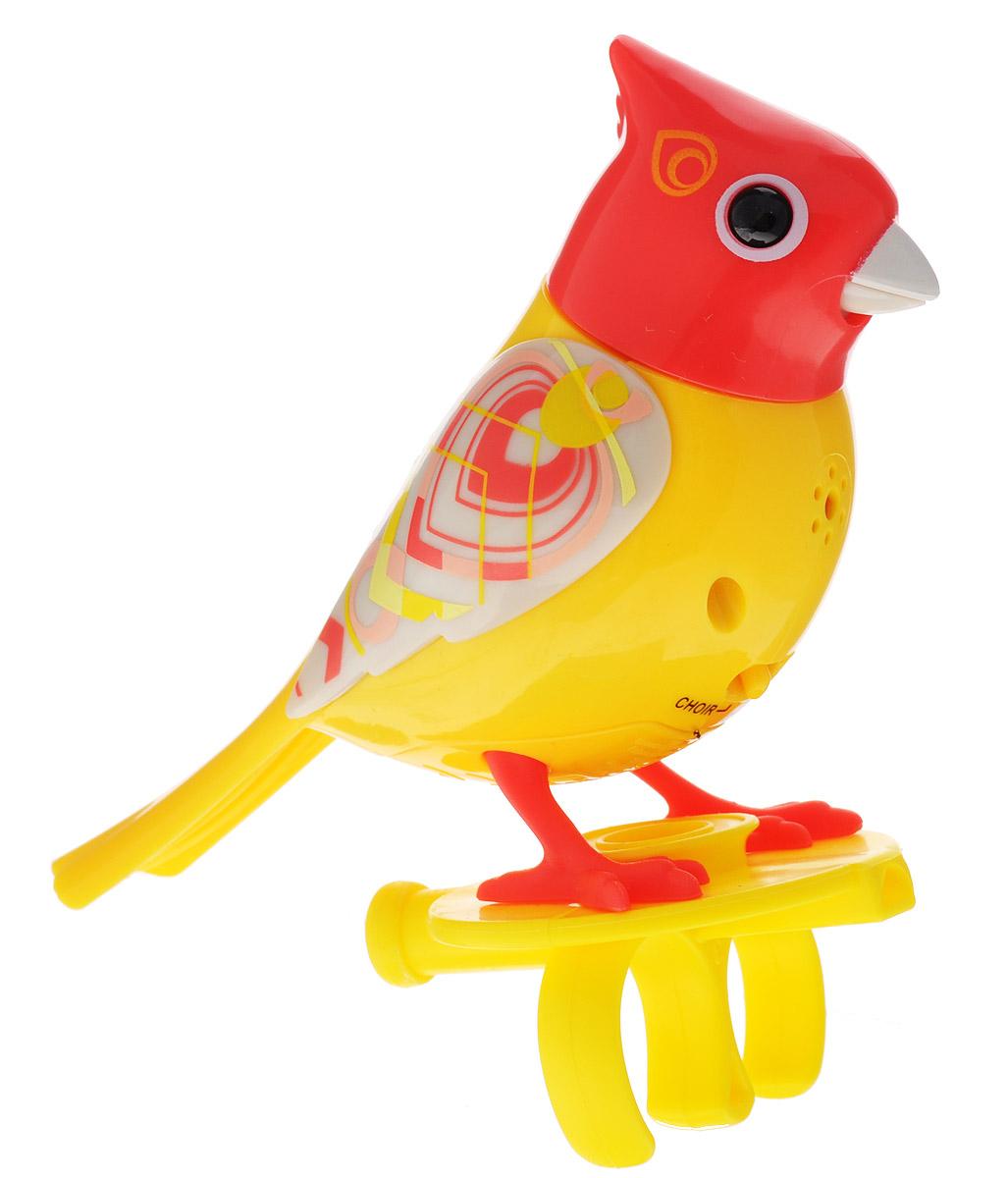DigiFriends Интерактивная игрушка Птичка с кольцом цвет желтый оранжевый серый88286_желтый,оранжевый,серыйУ вас есть шанс получить уникального домашнего питомца - поющую птичку. Не каждый может похвастаться этим. Эта умная птичка интерактивная, она будет развлекать вас различными мелодиями, пением и ритмичными движениями. Для активизации птички необходимо подуть на нее. Чтобы активировать режим проигрывания мелодий достаточно посвистеть в свисток, который имеется в комплекте. Игрушка издает 55 вариантов мелодий и звуков. Кольцо-свисток может служить как переносной насест для птички. Ребенок может надеть кольцо на два пальца, закрепить там игрушку и свободно играть или даже бегать. Птичка DigiFriends устойчива на любой ровной поверхности. Игрушка может поворачивать голову и шевелить клювом в такт мелодии. Игрушка работает в двух режимах: соло и хор. Можно синхронизировать неограниченное количество птичек или других персонажей DigiFriends. Главным в хоре становится персонаж, которого первого включили. Необходимо размещать DigiFriends на расстоянии не более 15 см от главной...