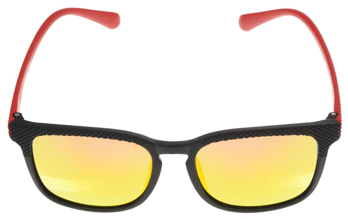 Очки солнцезащитные женские Fabretti, цвет: черный, красный, желтый. A1618-3A1618-3Солнцезащитные женские очки Fabretti выполнены с линзами из высококачественного пластика с зеркальной поверхностью. Используемый пластик не искажает изображение, не подвержен нагреванию и вредному воздействию солнечных лучей, защищает от бликов, повышает контрастность и четкость изображения, снижает усталость глаз и обеспечивает отличную видимость. Линзы имеют степень затемнения Cat. 3. Пластиковая оправа очков, выполненная в оригинальной черно-красной гамме с ромбовидным орнаментом. Оправа легкая, прилегающей формы и поэтому не создает никакого дискомфорта. Такие очки защитят глаза от ультрафиолетовых лучей, подчеркнут вашу индивидуальность и сделают ваш образ завершенным.
