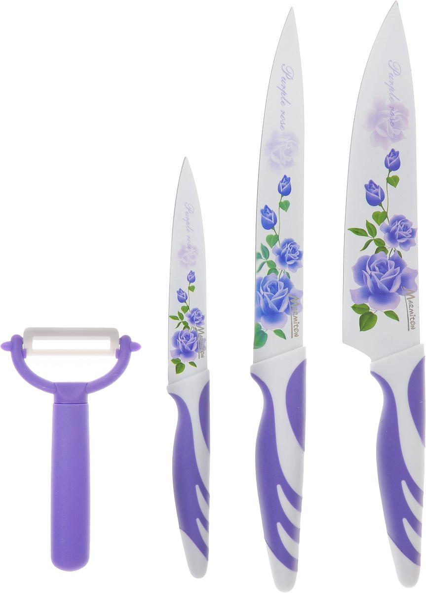 Подарочный набор ножей Marmiton, цвет: фиолетовый, белый, 4 предмета. 1703317033Подарочный набор ножей Marmiton включает 3 ножа (разделочный, поварской, универсальный) и овощерезку. Это оптимальный набор для обработки и приготовления любых продуктов. Лезвие каждого ножа выполнено из высокоуглеродистой нержавеющей стали, которая обеспечивает необходимую остроту нарезки. Кроме этого, на лезвие нанесено специальное керамическое покрытие, благодаря которому остатки продуктов не остаются на лезвии. Покрытие также защищает от окисления и препятствует размножению бактерий. Удобная ручка с прорезиненными вставками обеспечит необходимый комфорт при использовании. Красивый цветочный рисунок на лезвиях придает набору изысканный внешний вид. Не рекомендуется мыть в посудомоечной машине. Длина лезвия поварского ножа: 19,5 см. Общая длина поварского ножа: 33 см. Длина лезвия разделочного ножа: 19,5 см. Общая длина разделочного ножа: 33 см. Длина лезвия универсального ножа: 11,5 см. Общая длина универсального ножа: 23 см. ...