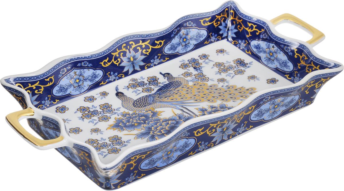 Хлебница Elan Gallery Синий павлин, 30 х 14,5 х 4 см503574Хлебница Elan Gallery Синий павлин, изготовленная из глазурованной керамики, станет изысканным украшением стола. Удобное красивое блюдо снабжено высокими волнистыми бортами и двумя ручками. Блюдо можно использовать не только для хлеба, но и для любой другой выпечки и разнообразных блюд. Изделие имеет подарочную упаковку, оно станет желанным подарком для ваших близких.