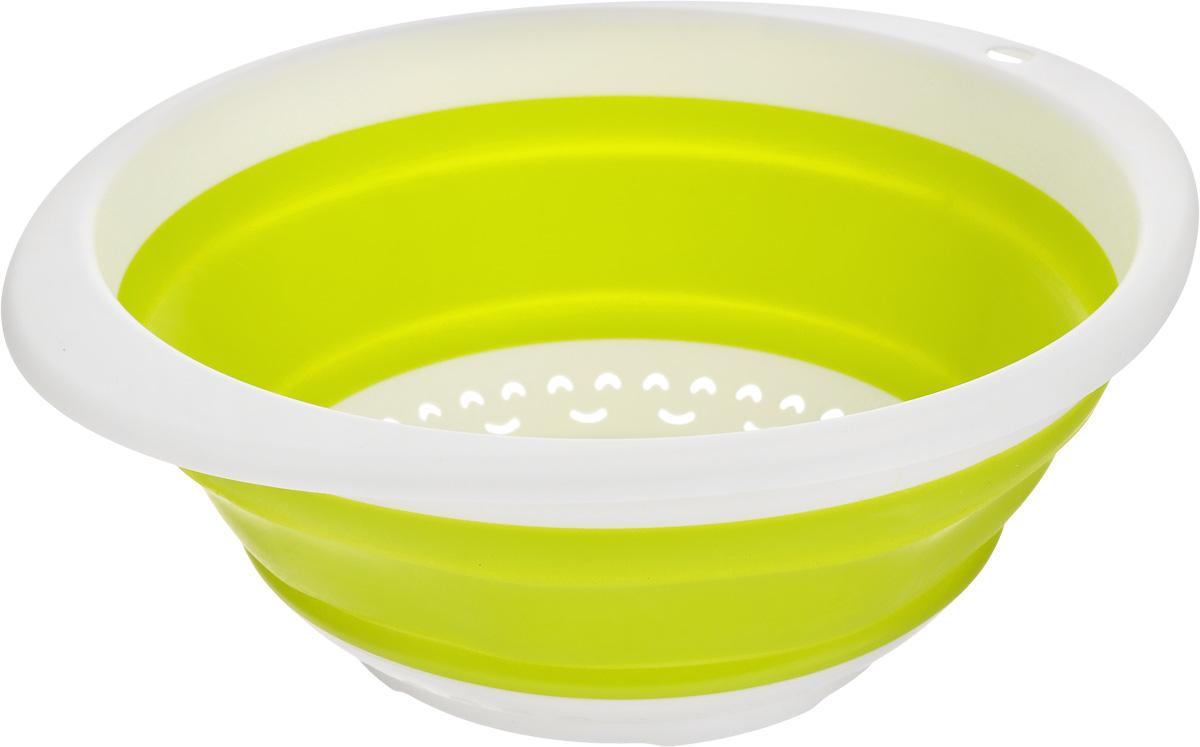 Дуршлаг складной Calve, цвет: салатовый, 30 x 26,5 x 4 смCL-4595Дуршлаг Calve, изготовленный из высококачественного силикона и пластика, станет полезным приобретением для вашей кухни. Он предназначен для отделения жидкости от твердых веществ, после варки макаронных изделий, круп, картофеля. Также дуршлаг используется для мытья и промывания ягод, грибов, мелких фруктов и овощей. Дуршлаг компактно складывается, что делает его удобным для хранения. Можно мыть в посудомоечной машине. Внутренний диаметр: 24 см. Размер (в разложенном виде): 30 х 26,5 х 11 см. Размер (в сложенном виде): 30 х 26,5 х 4 см.