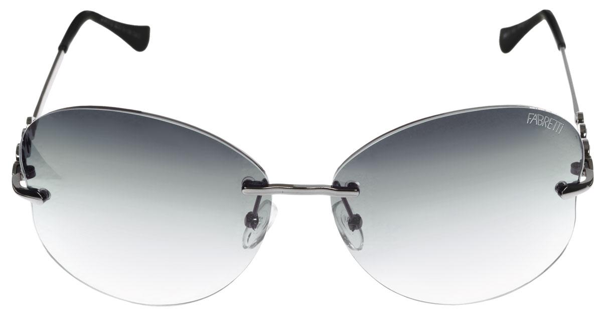 Очки солнцезащитные женские Fabretti, цвет: черный, стальной. A1617-2A1617-2Солнцезащитные женские очки Fabretti выполнены с фотохромными линзами оригинальной формы из высококачественного пластика с зеркальным эффектом. Используемые линзы корригируют зрение (улучшают зрение до максимально достижимой с очками остроты зрения), но и изменяют степень своего затемнения в зависимости от интенсивности солнечного света. Линзы имеют степень затемнения Cat. 2. Металлическая оправа с пластиковыми дужками декорирована небольшим узором. Оправа легкая, прилегающей формы и поэтому не создает никакого дискомфорта. Такие очки защитят глаза от ультрафиолетовых лучей, подчеркнут вашу индивидуальность и сделают ваш образ завершенным.