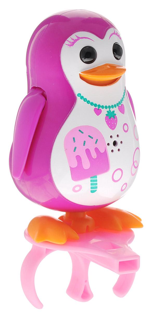 DigiFriends Интерактивная игрушка Пингвин с кольцом цвет малиновый88333_малиновыйУ вас есть шанс получить уникального домашнего питомца - поющего пингвина. Не каждый может похвастаться этим. Эта умная игрушка интерактивная, она будет развлекать вас различными мелодиями, пением и ритмичными движениями. Для активизации пингвина необходимо подуть на него. Чтобы активировать режим проигрывания мелодий достаточно посвистеть в свисток, который имеется в комплекте. Игрушка издает 55 вариантов мелодий и звуков. Кольцо-свисток может служить как переносной насест для пингвина. Ребенок может надеть кольцо на два пальца, закрепить там игрушку и свободно играть или даже бегать. Пингвин DigiFriends устойчив на любой ровной поверхности. Игрушка может качаться, крутиться, махать крыльями и шевелить клювом в такт мелодии. Игрушка работает в двух режимах: соло и хор. Можно синхронизировать неограниченное количество пингвинов или других персонажей DigiFriends. Главным в хоре становится персонаж, которого первого включили. Необходимо размещать...