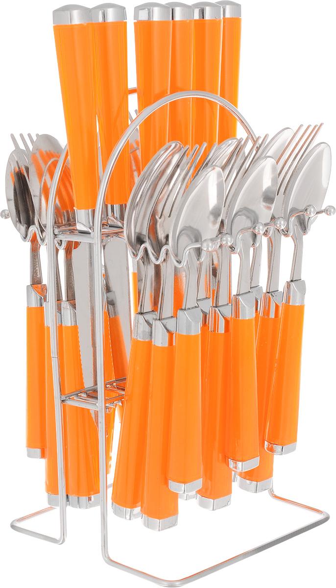 Набор столовых приборов Mayer&Boch, цвет: оранжевый, 25 предметов. Mayer&Boch-22488MB-22488Набор столовых приборов Mayer & Boch выполнен из высококачественной нержавеющей стали. В набор входит 25 предметов: 6 столовых ножей, 6 столовых ложек, 6 столовых вилок, 6 чайных ложек и подставка. Приборы имеют удобные пластиковые ручки. Прекрасное сочетание свежего дизайна и удобство использования предметов набора придется по душе каждому. Набор столовых приборов Mayer & Boch подойдет для сервировки стола, как дома, так и на даче и всегда будет важной частью трапезы, а также станет замечательным подарком. Длина ножей: 22 см. Длина ложек: 20 см. Длина вилок: 20 см. Длина чайных ложек: 17 см. Размер подставки: 13 х 13 х 23 см.