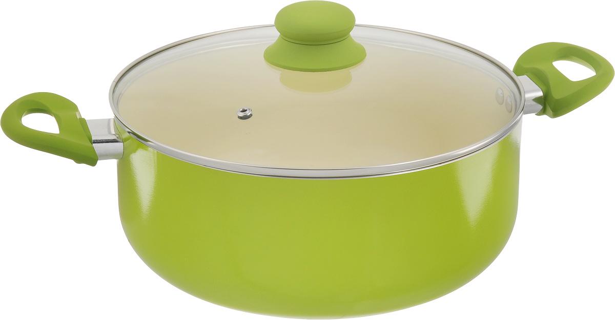"""Сотейник """"Mayer & Boch"""", с крышкой, с керамическим покрытием, цвет: салатовый, 5,8 л"""