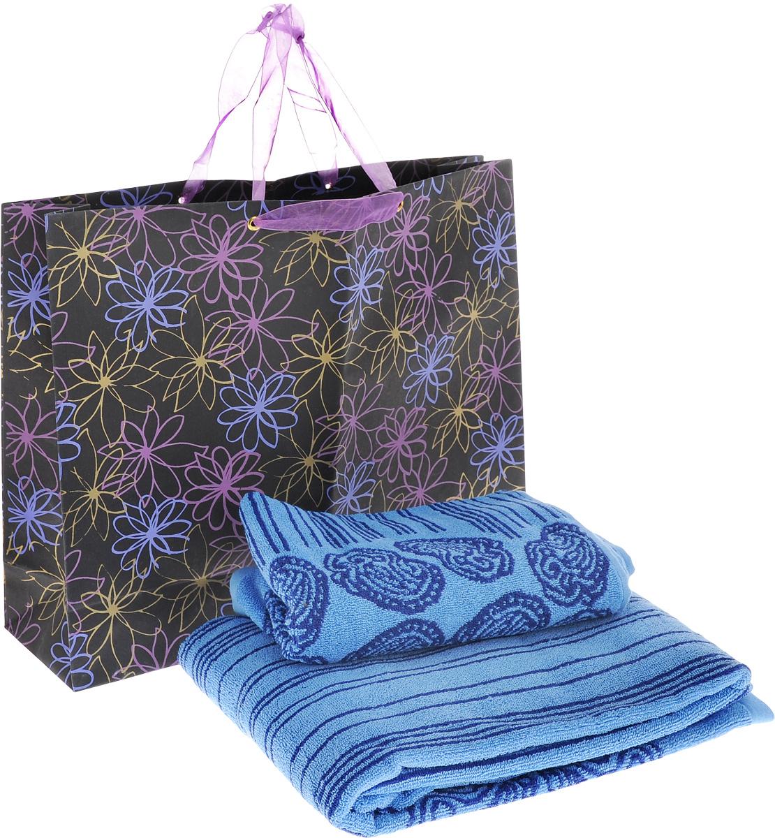 Набор махровых полотенец Toalla Аква, цвет: синий, 2 шт00000000019-2Набор Toalla Аква состоит из двух полотенец, выполненных из натуральной махровой ткани (100% хлопка). Изделия отлично впитывают влагу, быстро сохнут, сохраняют яркость цвета и не теряют формы даже после многократных стирок. Полотенца Toalla Аква очень практичны и неприхотливы в уходе. Они создадут прекрасное настроение и украсят интерьер в ванной комнате. Набор упакован в подарочный пакет и послужит приятным и полезным подарком. Комплектация: 2 шт.