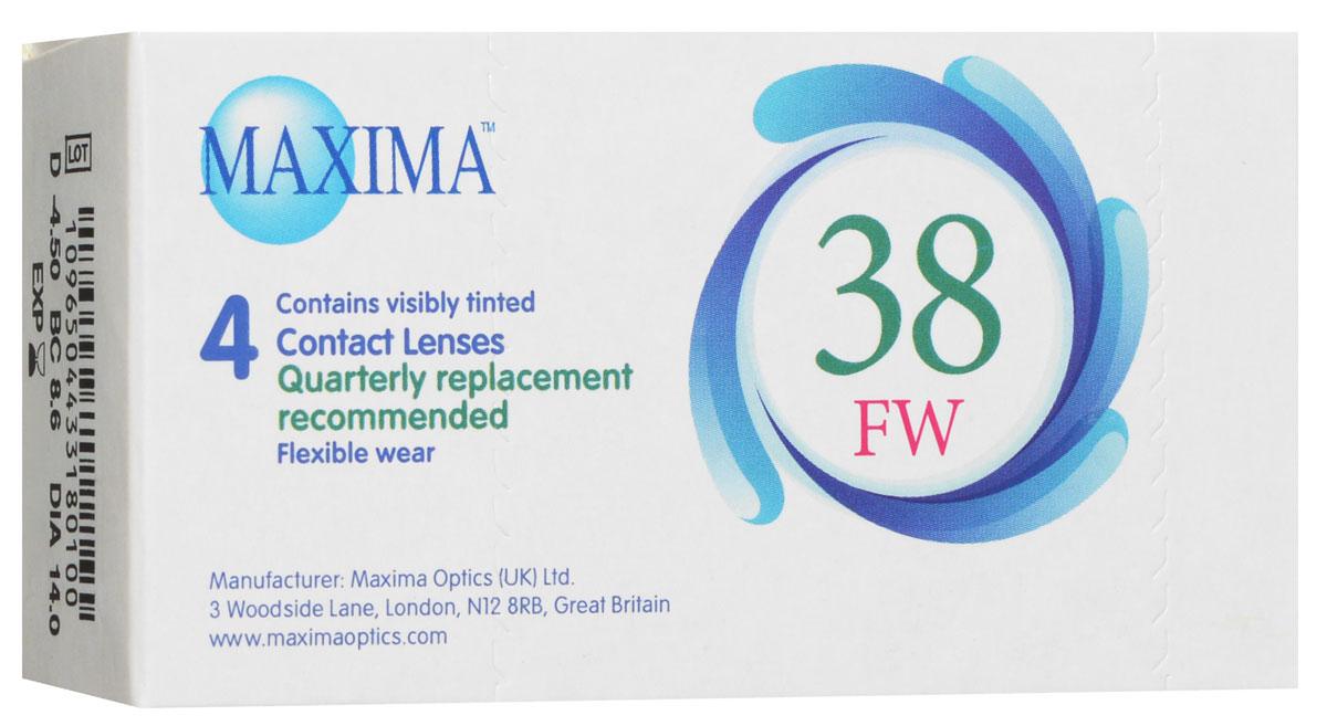 Maxima контактные линзы 38 FW (4шт / 8.6 / -4.50)1002Линзы квартальной замены Maxima 38 FW обладают отличными клиническими характеристиками в сочетании с доступной ценой. Идеальны для перехода пациентов с традиционных линз к плановой замене. Ровный тонкий профиль края линзы Maxima 38 FW, незначительная толщина в центре обеспечивают комфорт ношения и улучшают кислородную проницаемость к роговице. Замена через 3 месяца.