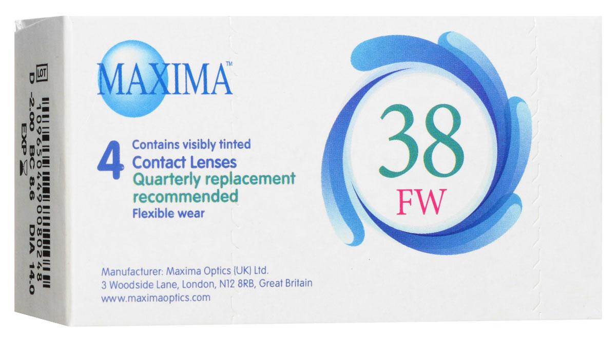 Maxima контактные линзы 38 FW (4 шт / 8.6 / -2.00)1012Линзы квартальной замены Maxima 38 FW обладают отличными клиническими характеристиками в сочетании с доступной ценой. Идеальны для перехода пациентов с традиционных линз к плановой замене. Ровный тонкий профиль края линзы Maxima 38 FW, незначительная толщина в центре обеспечивают комфорт ношения и улучшают кислородную проницаемость к роговице. Замена через 3 месяца.