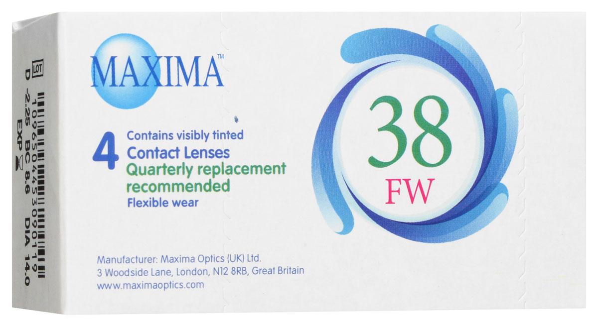 Maxima контактные линзы 38 FW (4 шт / 8.6 / -2.25)1011Линзы квартальной замены Maxima 38 FW обладают отличными клиническими характеристиками в сочетании с доступной ценой. Идеальны для перехода пациентов с традиционных линз к плановой замене. Ровный тонкий профиль края линзы Maxima 38 FW, незначительная толщина в центре обеспечивают комфорт ношения и улучшают кислородную проницаемость к роговице. Замена через 3 месяца.