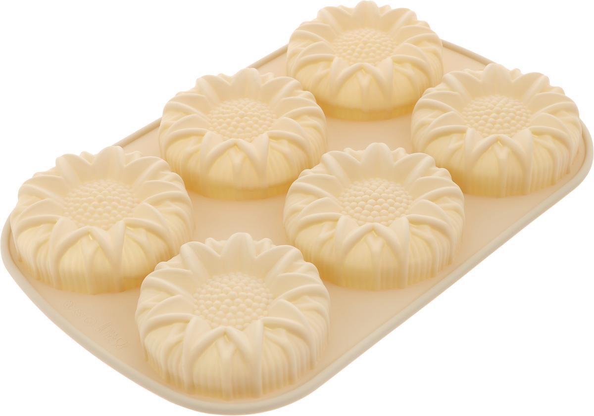 Форма для выпечки Calve, силиконовая, цвет: бежевый, 6 ячеекCL-4548Форма для выпечки Calve изготовлена из высококачественного силикона. Стенки формы легко гнутся, что позволяет легко достать готовую выпечку и сохранить аккуратный внешний вид блюда. Форма имеет 6 фигурных ячеек. Изделия из силикона очень удобны в использовании: пища в них не пригорает и не прилипает к стенкам, форма легко моется. Приготовленное блюдо можно очень просто вытащить, просто перевернув форму, при этом внешний вид блюда не нарушится. Изделие обладает эластичными свойствами: складывается без изломов, восстанавливает свою первоначальную форму. Порадуйте своих родных и близких любимой выпечкой в необычном исполнении. Подходит для приготовления в микроволновой печи и духовом шкафу при нагревании до + 230°С; для замораживания до -40°. Размер ячейки: 8 х 8 х 3 см. Размер формы: 27,5 х 18 х 3 см.