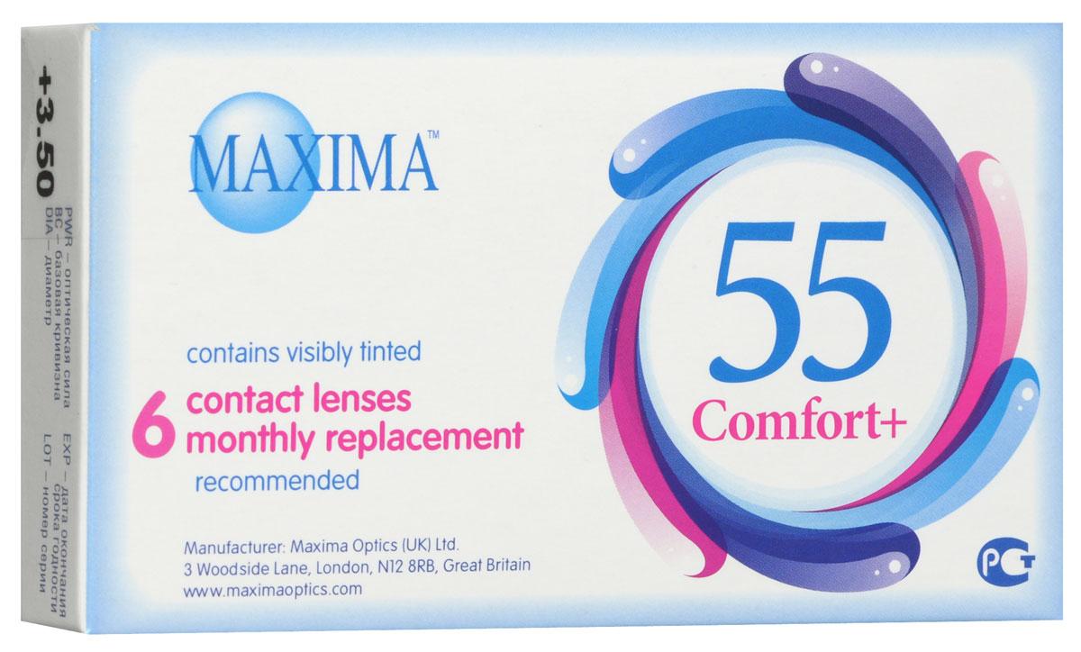 Maxima контактные линзы 55 Comfort Plus (6шт / 8.6 / +3.50)7701MAXIMA 55 Comfort+ (6 блистеров) разработанные английской компанией Maxima Optics — это лизны ежемесяцной замены, имеющие асферический дизайн и изготовленные из биосовместимого материала. Эти контактные линзы разработанны специально для людей имеющих не большую степень астигматисма, а так же желающих ощущать чувство полного комфорта в течении целого дня. Асферическая поверхность контактной линзы помогает формировать более контрастное и четкое изображение. В Maxima 55 COMFORT+ все лучи, в том числе и проходящие через периферию, собираются вместе, тем самым минимизируя оптические искажения. Другим достоинством этих линз является материал из которого они изготовленны. Контактные линзы Maxima 55 COMFORT+ обладают низким уровнем образования отложений, превосходно удерживают воду и отлично пропускают кислород к роговице глаза. Все это стало возможно благодаря совершенно новому биосовместимому материалу, благодаря ему ношение контактных линз стало еще более удобным и комфортым. ...