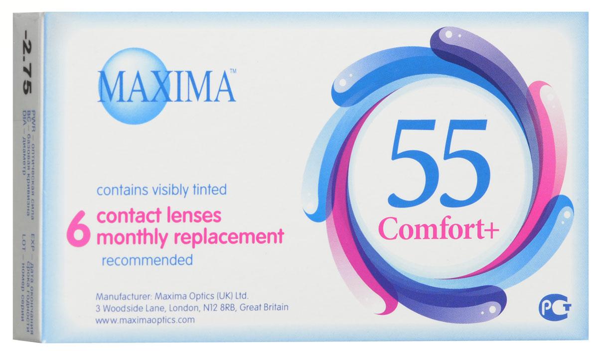 Maxima контактные линзы 55 Comfort Plus (6шт / 8.6 / -2.75)7677Контактные линзы Maxima 55 Comfort Plus - это линзы ежемесячной замены, имеющие асферический дизайн и изготовленные из биосовместимого материала. Эти контактные линзы разработаны специально для людей имеющих небольшую степень астигматизма, а также желающих ощущать чувство полного комфорта в течение целого дня. Асферическая поверхность контактной линзы помогает формировать более контрастное и четкое изображение. В Maxima 55 Comfort Plus все лучи, в том числе и проходящие через периферию, собираются вместе, тем самым минимизируя оптические искажения. Другим достоинством этих линз является материал из которого они изготовлены. Контактные линзы Maxima 55 Comfort Plus обладают низким уровнем образования отложений, превосходно удерживают воду и отлично пропускают кислород к роговице глаза. Все это стало возможно благодаря совершенно новому биосовместимому материалу, благодаря ему ношение контактных линз стало еще более удобным и комфортным. Замена через 1 месяц.