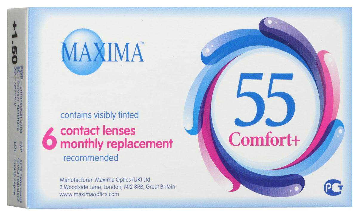 Maxima контактные линзы 55 Comfort Plus (6шт / 8.6 / +1.50)7693MAXIMA 55 Comfort+ (6 блистеров) разработанные английской компанией Maxima Optics — это лизны ежемесяцной замены, имеющие асферический дизайн и изготовленные из биосовместимого материала. Эти контактные линзы разработанны специально для людей имеющих не большую степень астигматисма, а так же желающих ощущать чувство полного комфорта в течении целого дня. Асферическая поверхность контактной линзы помогает формировать более контрастное и четкое изображение. В Maxima 55 COMFORT+ все лучи, в том числе и проходящие через периферию, собираются вместе, тем самым минимизируя оптические искажения. Другим достоинством этих линз является материал из которого они изготовленны. Контактные линзы Maxima 55 COMFORT+ обладают низким уровнем образования отложений, превосходно удерживают воду и отлично пропускают кислород к роговице глаза. Все это стало возможно благодаря совершенно новому биосовместимому материалу, благодаря ему ношение контактных линз стало еще более удобным и комфортым. ...
