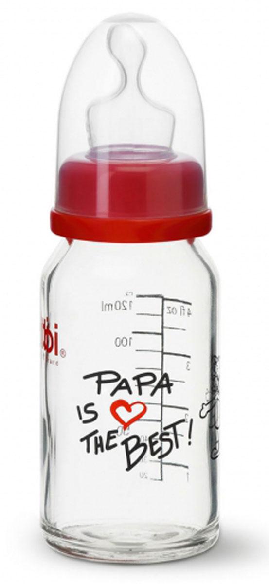Bibi Бутылочка для кормления Papa с силиконовой соской от 0 до 6 месяцев 120 мл