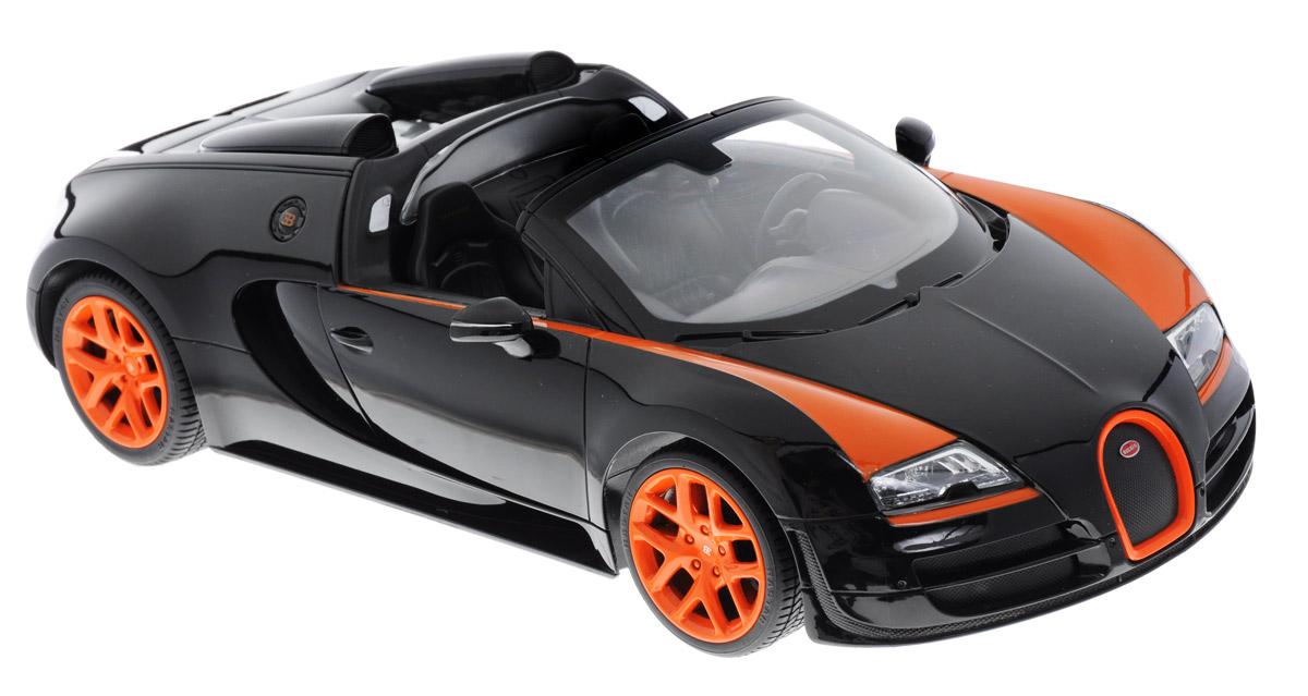 Rastar Радиоуправляемая модель Bugatti Veyron 16.4 Grand Sport Vitesse цвет черный оранжевый 7042070420_черный, оранжевыйРадиоуправляемая модель Rastar Bugatti Veyron 16.4 Grand Sport Vitesse будет отличным подарком как ребенку, так и взрослому коллекционеру. Все дети хотят иметь в наборе своих игрушек ослепительные, невероятные и крутые автомобили на радиоуправлении. Тем более, если это автомобиль известной марки с проработкой всех деталей, удивляющий приятным качеством и видом. Одной из таких моделей является автомобиль на радиоуправлении Rastar Bugatti Veyron 16.4 Grand Sport Vitesse. Это точная копия настоящего авто в масштабе 1:14. Авто обладает неповторимым стилем и спортивным характером. Потрясающая маневренность, динамика и покладистость - отличительные качества этой модели. Возможные движения: вперед-назад, вправо-влево, остановка. Имеются световые эффекты. Пульт управления работает на частоте 2,4 GHz. Для работы игрушки необходимы 5 батареек типа АА (не входят в комплект). Для работы пульта управления необходима батарейка 9V типа Крона...