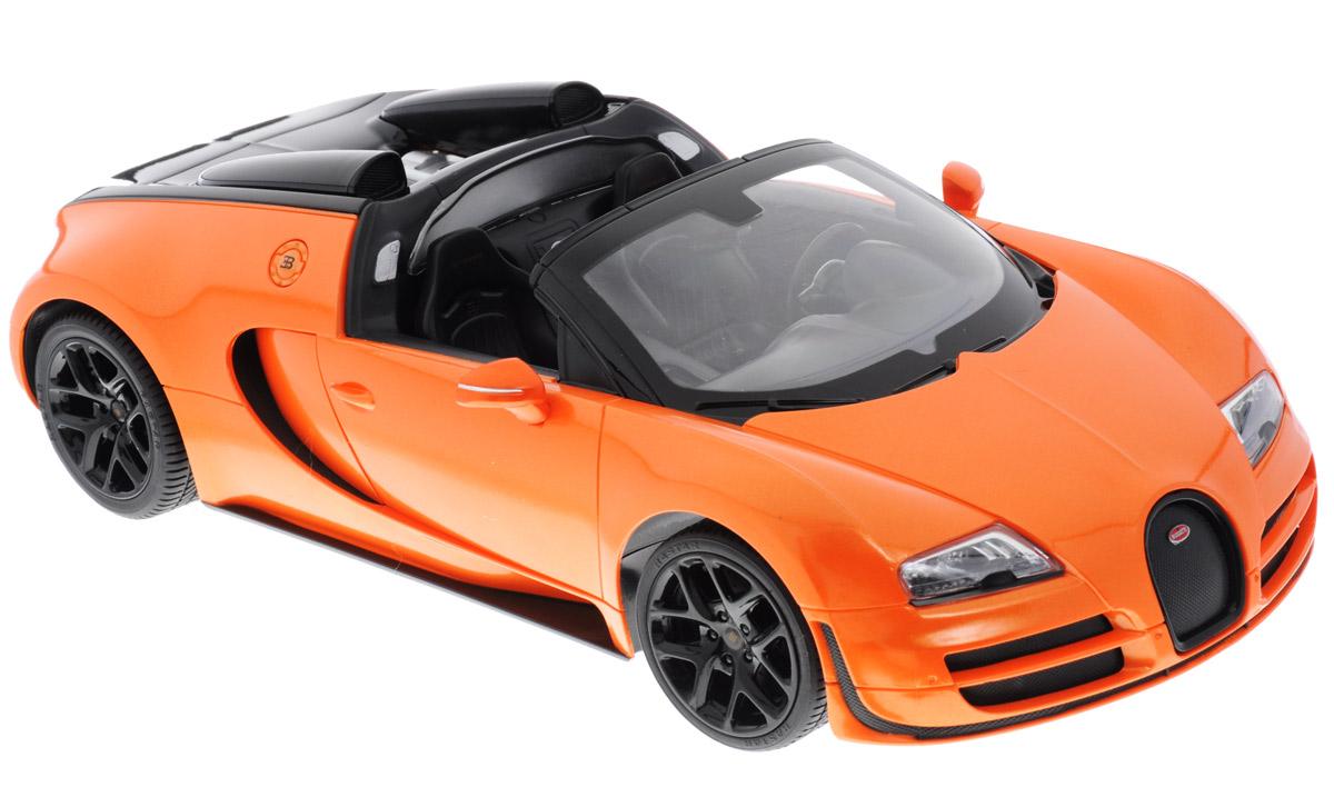 Rastar Радиоуправляемая модель Bugatti Veyron 16.4 Grand Sport Vitesse цвет оранжевый 7040070400Радиоуправляемая модель Rastar Bugatti Veyron 16.4 Grand Sport Vitesse обязательно привлечет внимание взрослого и ребенка и понравится любому, кто увлекается автомобилями. Все дети хотят иметь в наборе своих игрушек ослепительные, невероятные и крутые автомобили на радиоуправлении. Тем более, если это автомобиль известной марки с проработкой всех деталей, удивляющий приятным качеством и видом. Одной из таких моделей является автомобиль на радиоуправлении Rastar Bugatti Veyron 16.4 Grand Sport Vitesse. Это точная копия настоящего авто в масштабе 1:14. Авто обладает неповторимым провокационным стилем и спортивным характером. Потрясающая маневренность, динамика и покладистость - отличительные качества этой модели. Возможные движения: вперед, назад, вправо, влево, остановка. Имеются световые эффекты. Пульт управления работает на частоте 40 MHz. Для работы машины необходимы 5 батареек типа АА (не входят в комплект). Для работы пульта...