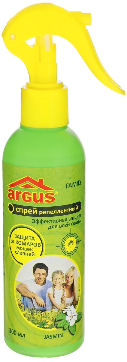 Спрей репеллентный от комаров Argus, 200 млСЗ.010018Репеллентный спрей Argus применяется для защиты людей от нападения кровососущих насекомых (комаров, мокрецов, москитов, слепней). Наносится на открытые части тела. Изделие оснащено удобным распылителем. Состав: N,N-диэтил-м-толуамид (ДЭТА) 18%, отдушка, спирт изопропиловый.