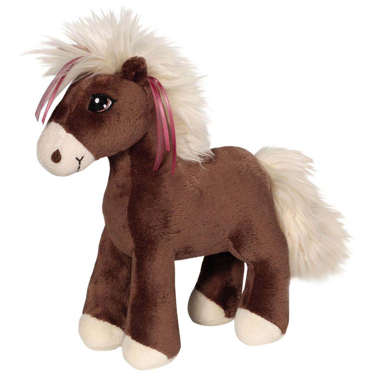 Nici Мягкая игрушка Лошадка Вельветс лентами цвет коричневый 24 см37848Очаровательная мягкая игрушка Nici Лошадка Вельвет выполнена в виде симпатичной плюшевой лошадки. Игрушка изготовлена из высококачественного текстильного материала коричневого цвета. Игрушка невероятно мягкая и приятная на ощупь, вам не захочется выпускать ее из рук. Глазки лошадки вышиты, а хвостик и грива выполнены из искусственного меха. Удивительно мягкая игрушка принесет радость и подарит своему обладателю мгновения нежных объятий и приятных воспоминаний. Великолепное качество исполнения делают эту игрушку чудесным подарком к любому празднику. Трогательная и симпатичная, она непременно вызовет улыбку у детей и взрослых.